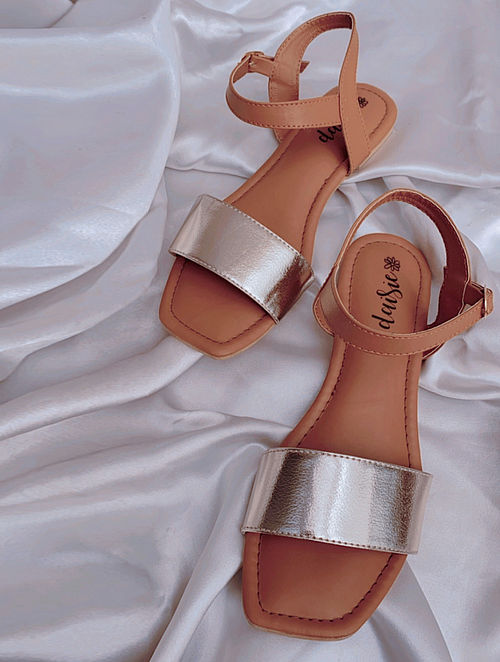 Gold Handcrafted Vegan Leather Sandals