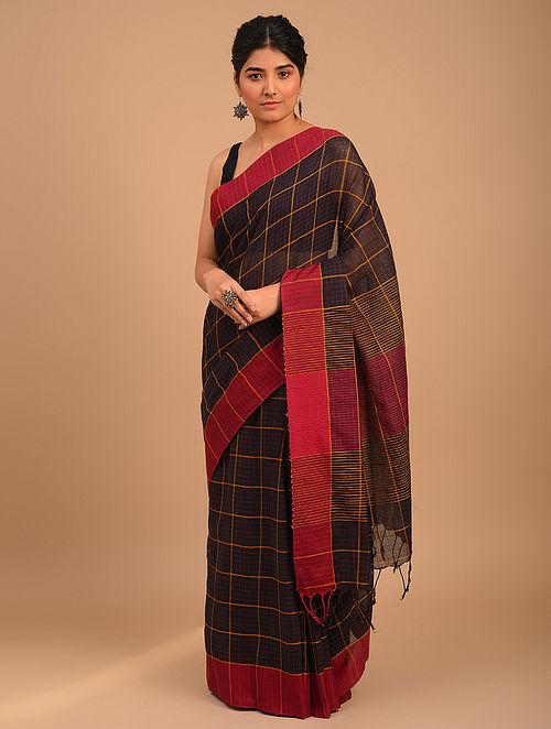 Black Handwoven Yarn Dyed Cotton Saree