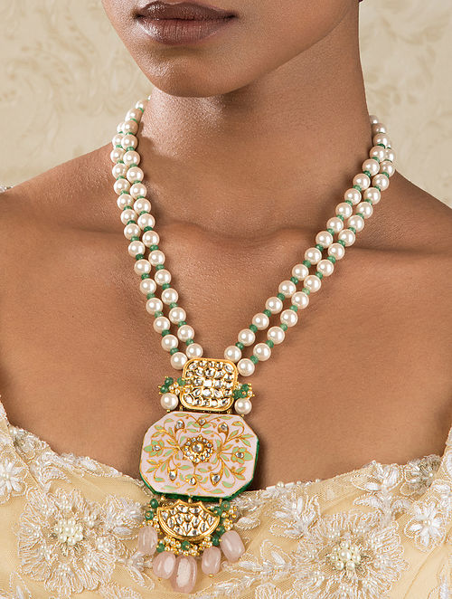 Pink Green Gold Tone Kundan Enameled Necklace With Jade And Pearls