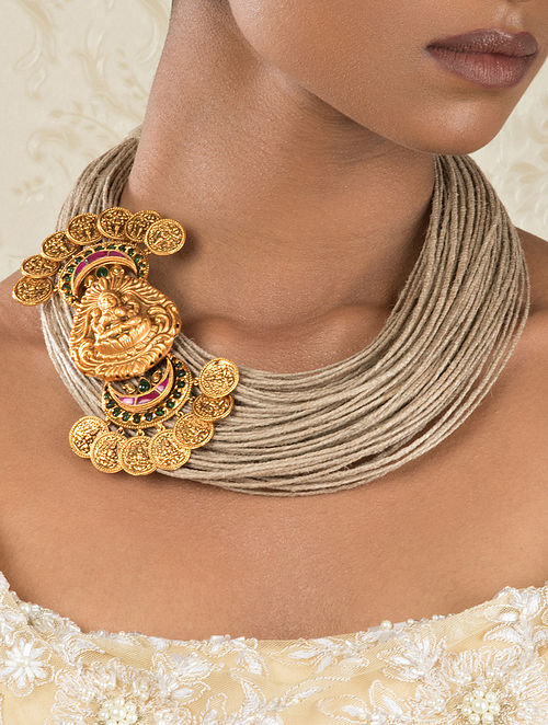 Gold Tone Temple Necklace
