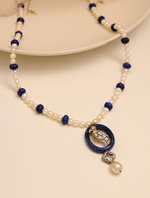 Pearl Beaded Polki Necklace with Lapiz