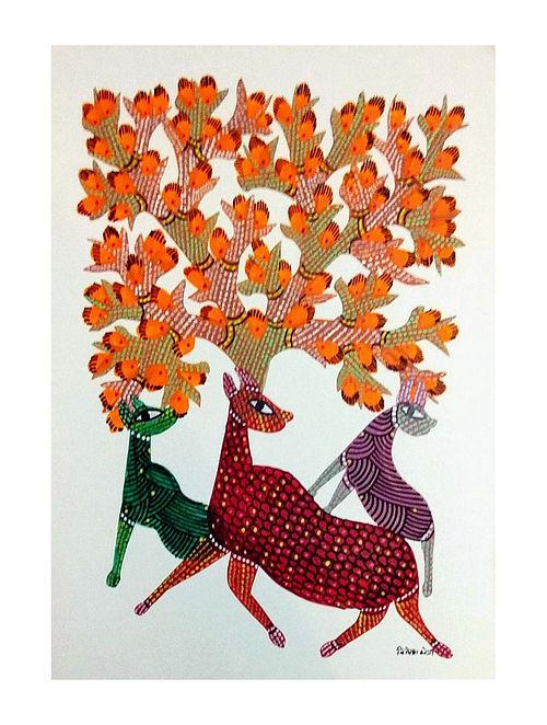 Multicolored Orange Blossoms Gond Art on Paper (L-14in, W-10in)