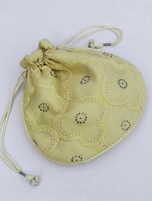 Lemon Yellow Chikankari Chanderi Silk Potli