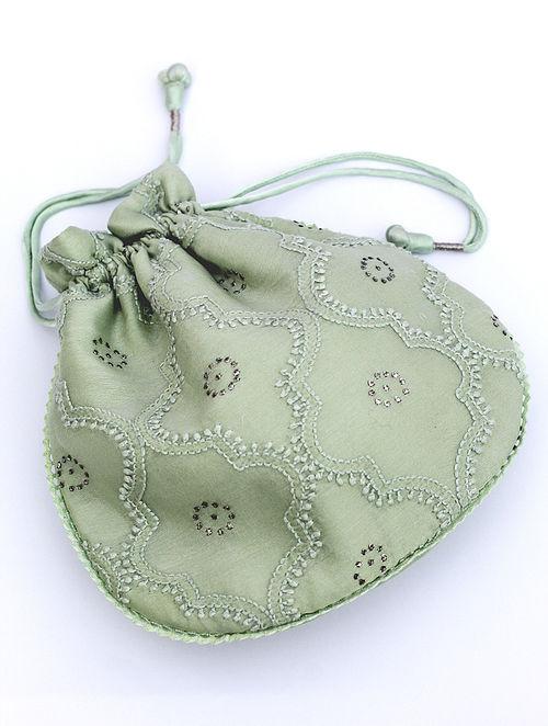 Pastel Green Chikankari Chanderi Silk Potli