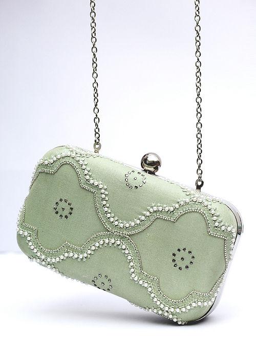 Pastel Green Chikankari Chanderi Silk Clutch