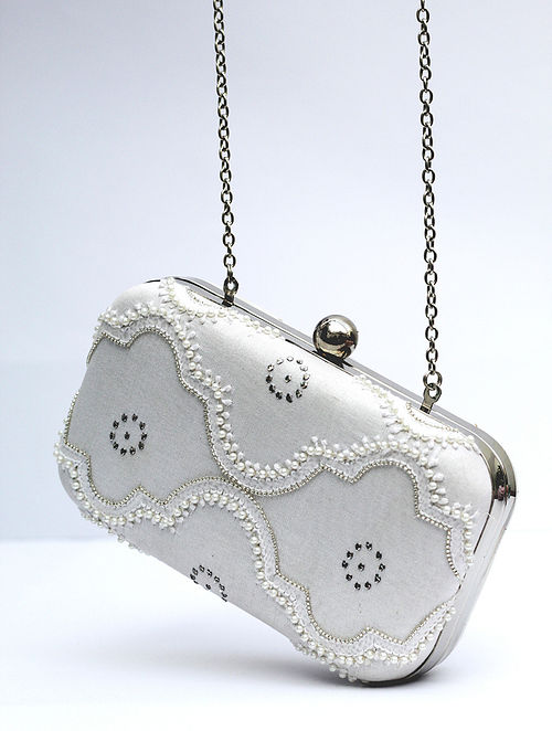 White Chikankari Chanderi Silk Clutch