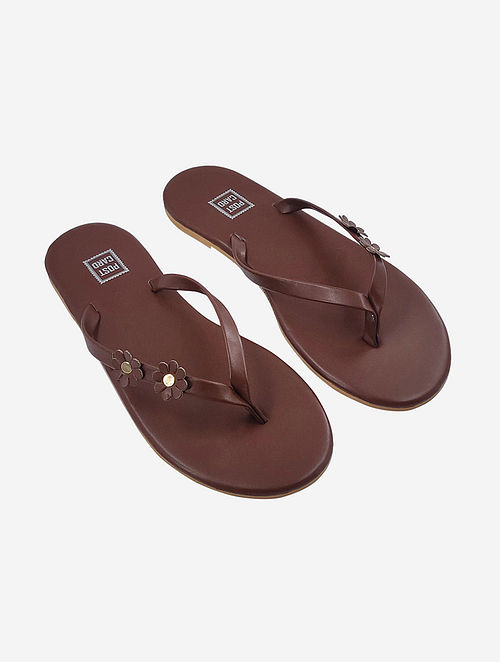Brown Handcrafted Faux Leather Slip Ons