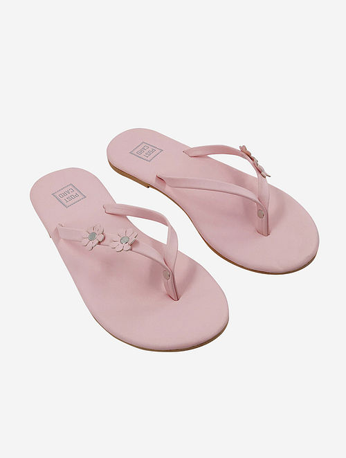 Pink Handcrafted Faux Leather Slip Ons