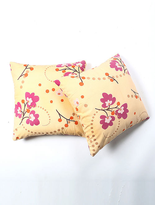 Jigayash Cotton Printed Cushion Cover Set of 2 (20in X 20in)