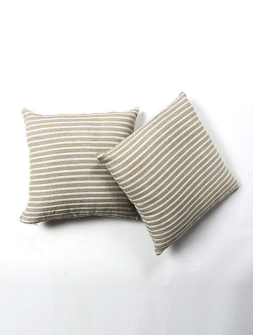 Posak Linen Printed Cushion Cover Set of 2 (20in X 20in)