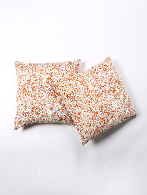 Koshiesl Cotton Printed Cushion Cover Set of 2 (20in X 20in)