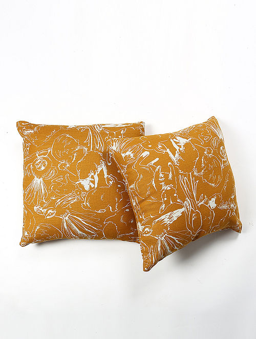 Yirejns Linen Printed Cushion Cover Set of 2 (20in X 20in)