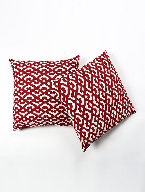 Trebasn Cotton Printed Cushion Cover Set of 2 (20in X 20in)