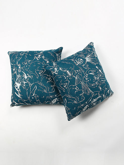 Poraesh Linen Printed Cushion Cover Set of 2 (20in X 20in)