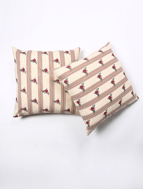Barnel Cotton Printed Cushion Cover Set of 2 (20in X 20in)