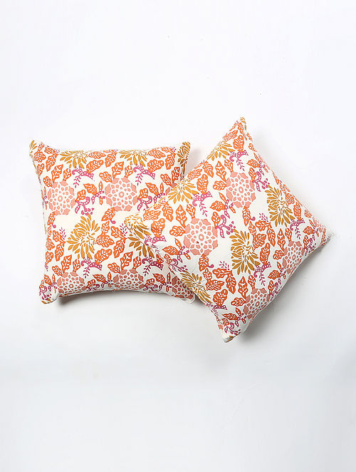 Jayal Cotton Printed Cushion Cover Set of 2 (20in X 20in)