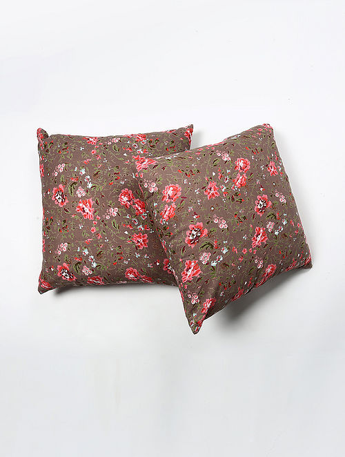 Khinyawa Cotton Printed Cushion Cover Set of 2 (20in X 20in)