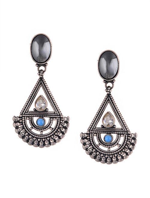 Black Tribal Silver Earrings