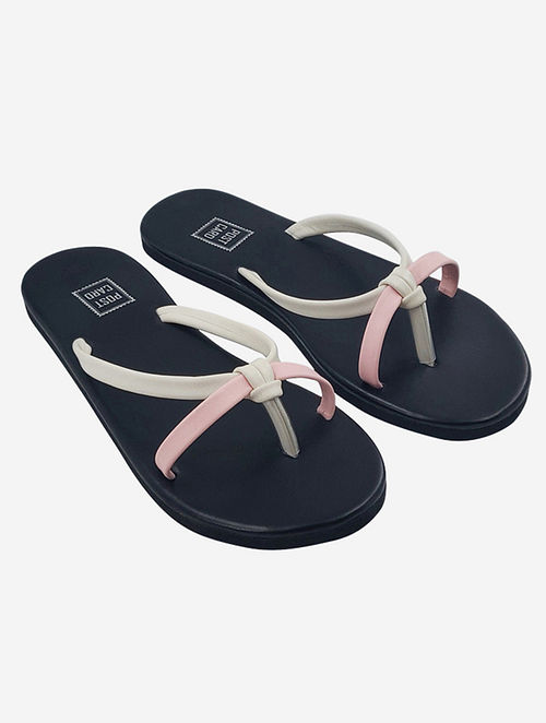 Pink White Handcrafted Faux Leather Flats