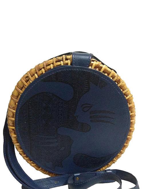 Blue Handpainted Cane Vegan Leather Sling Bag