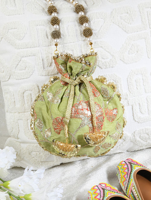 Green Hand Embroidered Sequinned Raw Silk Potli