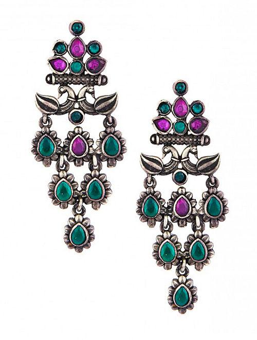 Green Maroon Sterling Silver Earrings