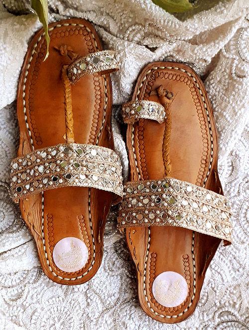 Dull Gold Handcrafted Gota Leather Kolhapuri Flats