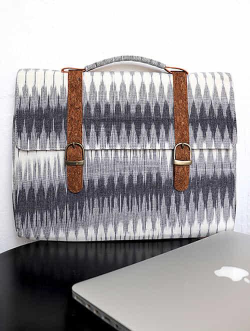 Grey Handcrafted Ikat Cork Leather Laptop Bag