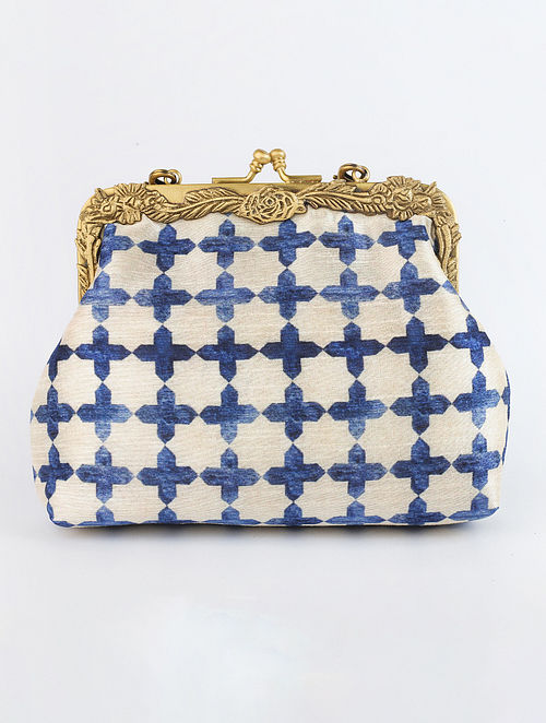 White Blue Handcrafted Printed Raw Silk Clutch