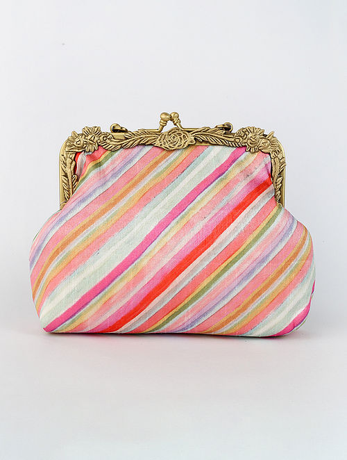 Multicolored Handcrafted Printed Raw Silk Clutch