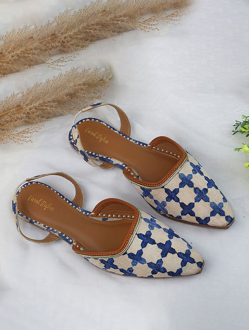 White Blue Handcrafted Printed Silk Mules