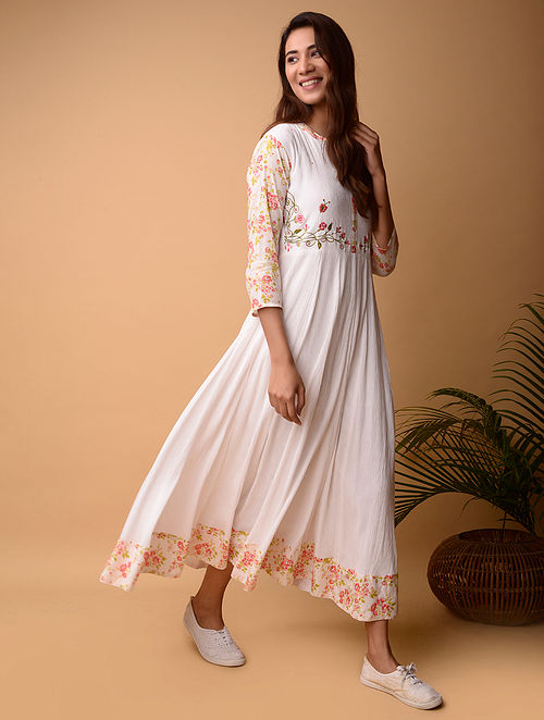 White Cotton Dress with Mirror Work