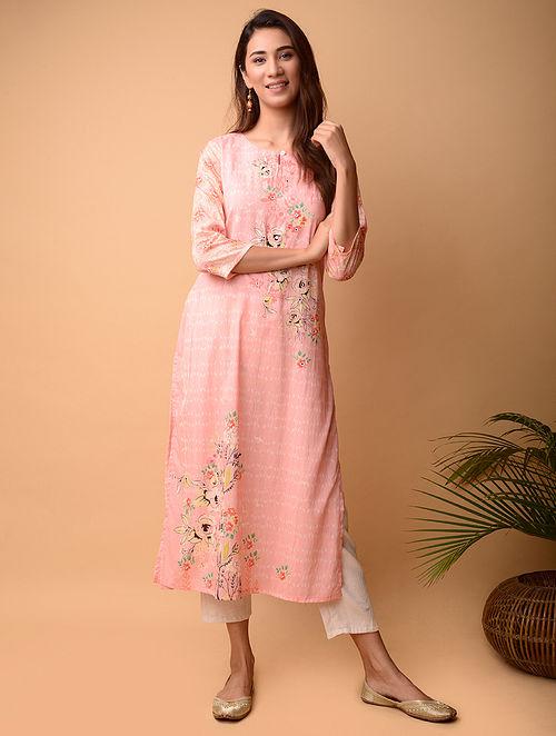Pink Cotton Kurta with Mirror Work