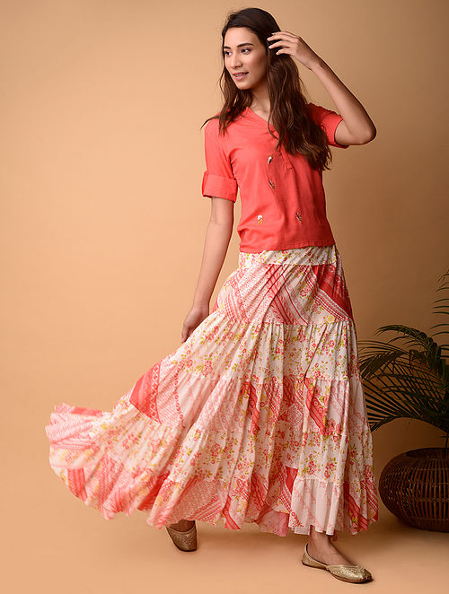 White and Pink Cotton Skirt
