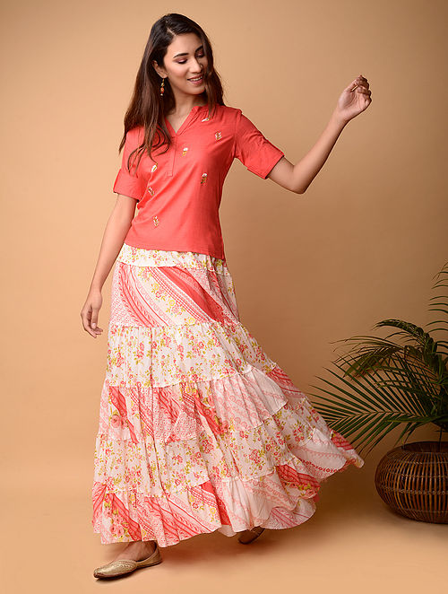 Coral Cotton Top with Hand Embroidery