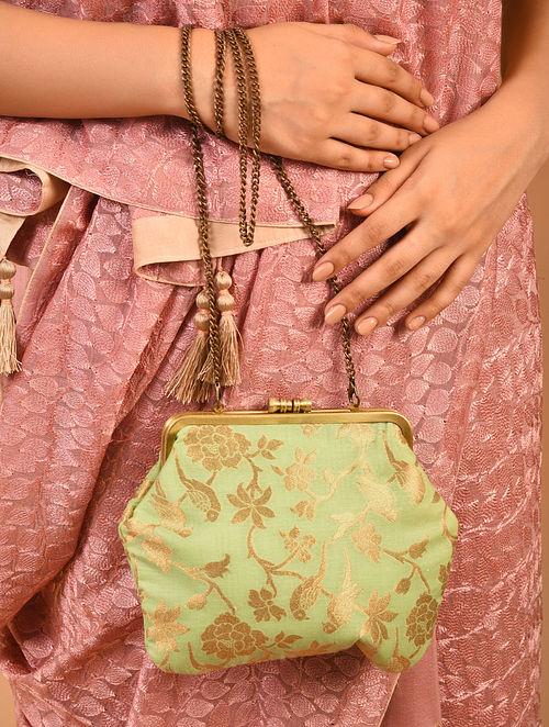 Green Handcrafted Benarasi Brocade Silk Batuwa Clutch