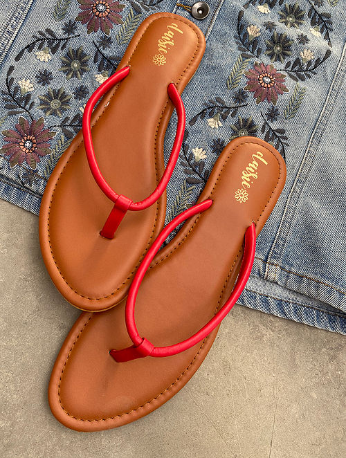 Red Handcrafted Vegan Leather Slip Ons