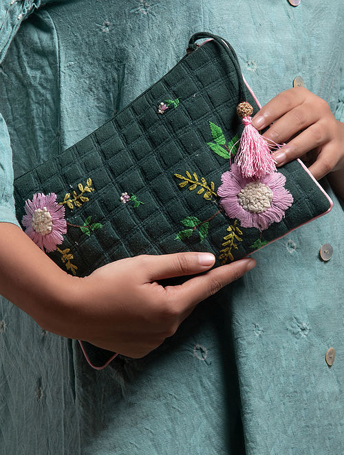 Green Hand Embroidered Khadi Pouch