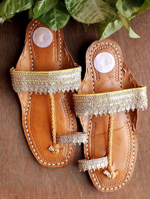 Yellow Handcrafted Silk Leather Kolhapuri Flats