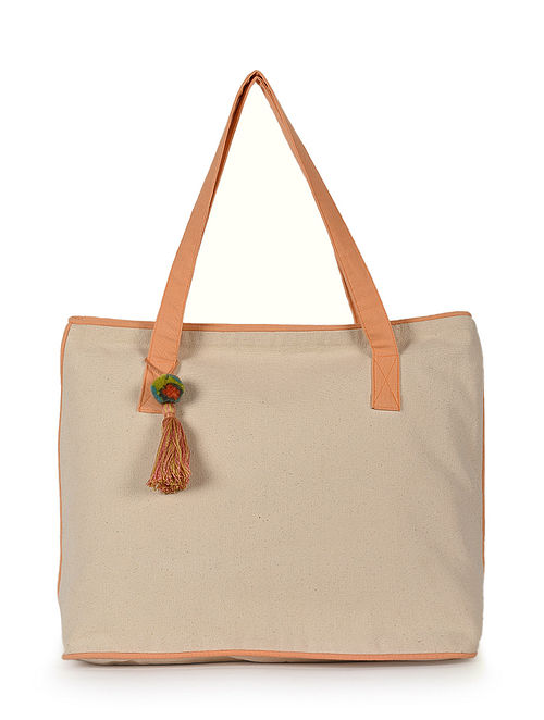 Beige Peach Handcrafted Canvas Cotton Tote Bag