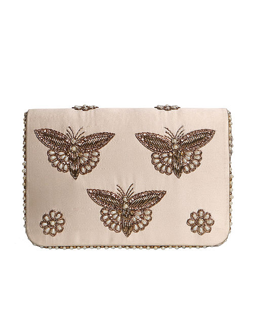 Gold Hand Embroidered Satin Clutch