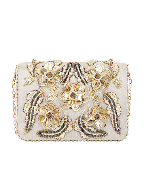 Off White Hand Embroidered Satin Clutch