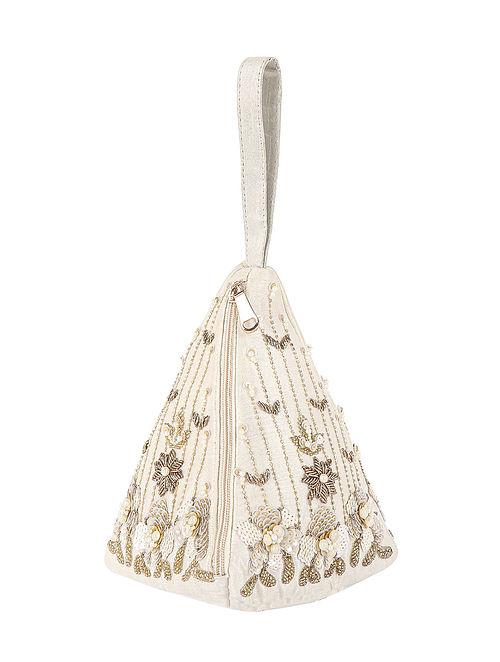 Off White Hand Embroidered Velvet Clutch
