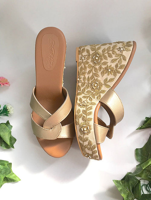 Dull Gold Zari Embroidered Vegan Leather Wedges