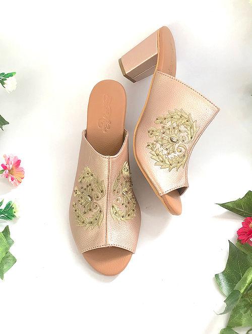 Rose Gold Zari Embroidered Vegan Leather Block Heels