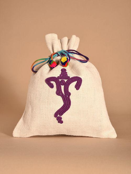 White Purple Handmade Jute Potli