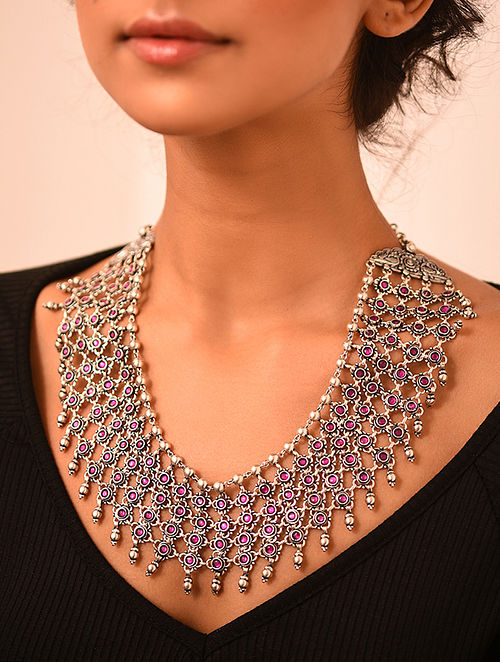 Tribal Silver Stone Necklace