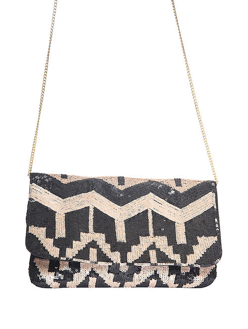 Black Handcrafted Sequinnned Polyester Clutch