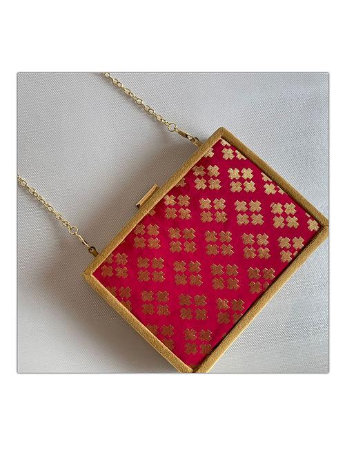 Pink Handcrafted Brocade Silk Clutch
