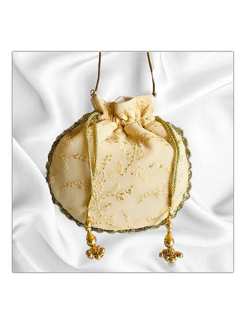 Beige Handcrafted Lucknowi Silk Potli